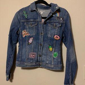 Sneak Peek distressed denim jacket with patches